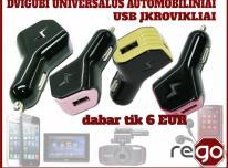 Dvigubi universalūs automobiliniai USB pakrovėja