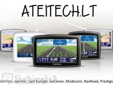 GPS navigacijos TomTom, Garmin, Modecom, Goclever,