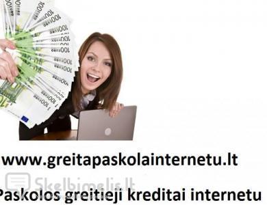 Paskolos be užstato. Greitas kreditas internetu.